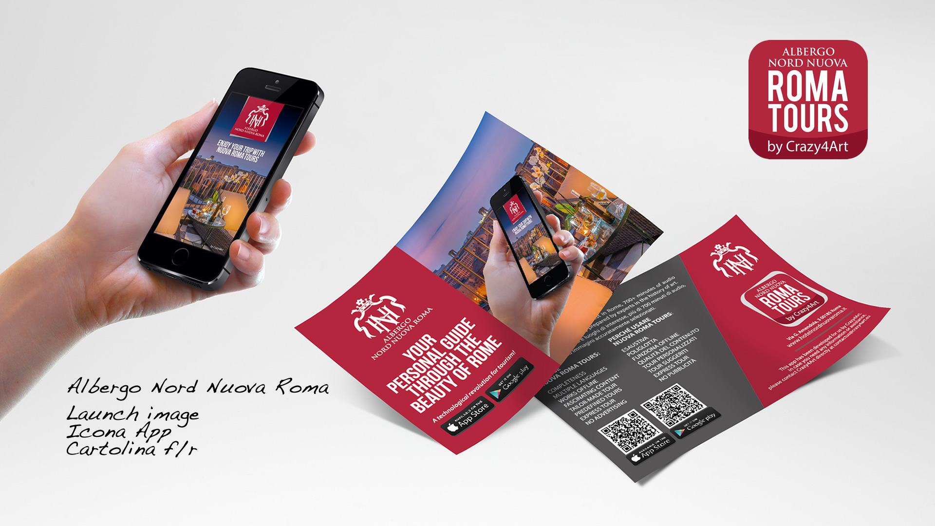 Crazy4Art Albergo Nord Nuova Roma App audioguida - Patrizio Rossi - realizzazione immagini play store - apple app store- web graphic designer
