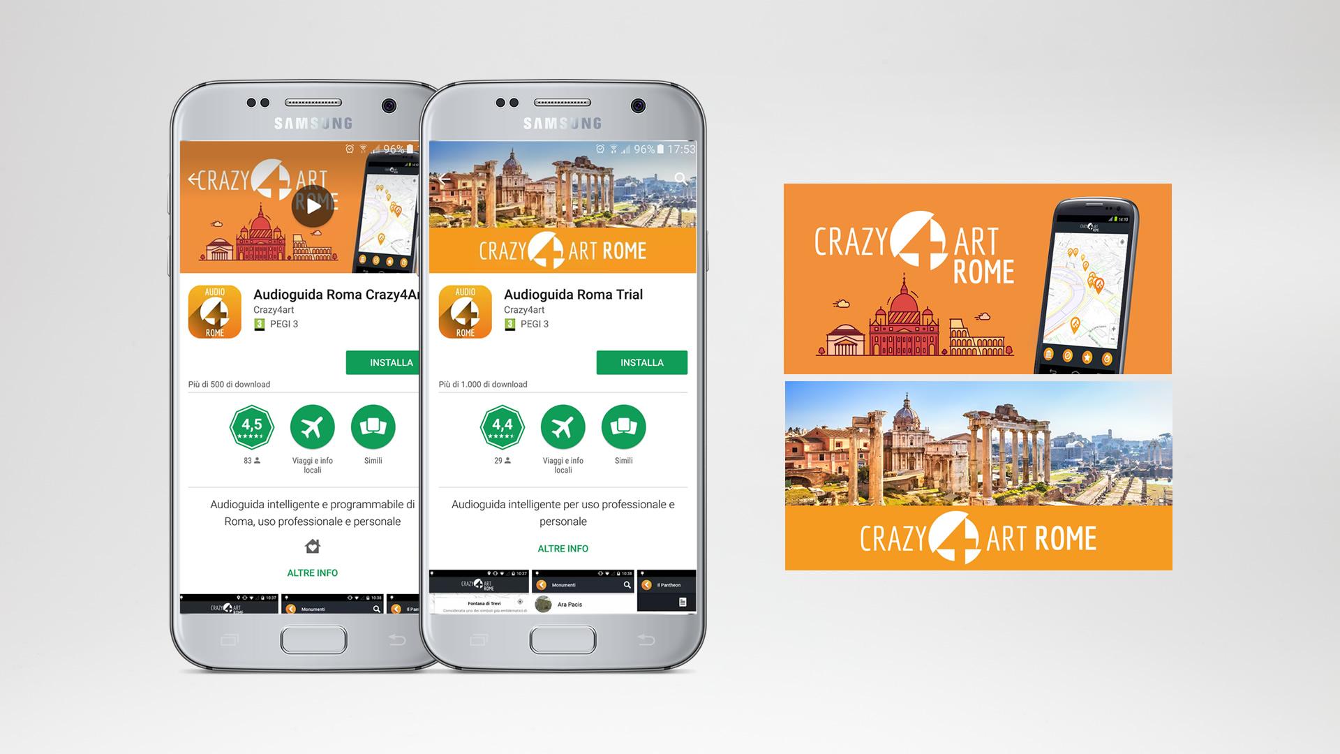 Crazy4Art App Roma audioguida - Patrizio Rossi - realizzazione immagini play store - apple app store- web graphic designer