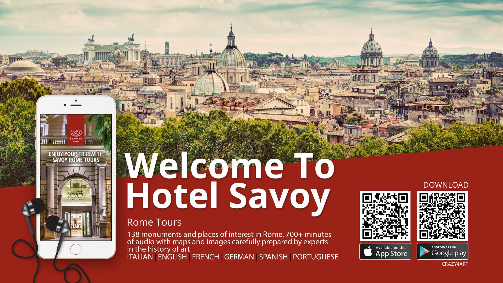Crazy4Art Hotel Savoy Roma App audioguida - Patrizio Rossi - realizzazione immagini play store - apple app store web graphic designer
