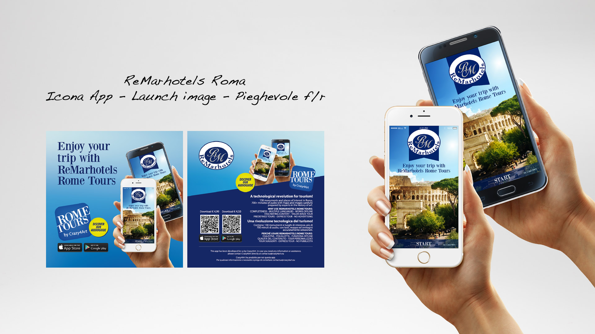 Crazy4Art ReMarhotels Roma App audioguida - Patrizio Rossi - realizzazione immagini play store apple app store web graphic designer