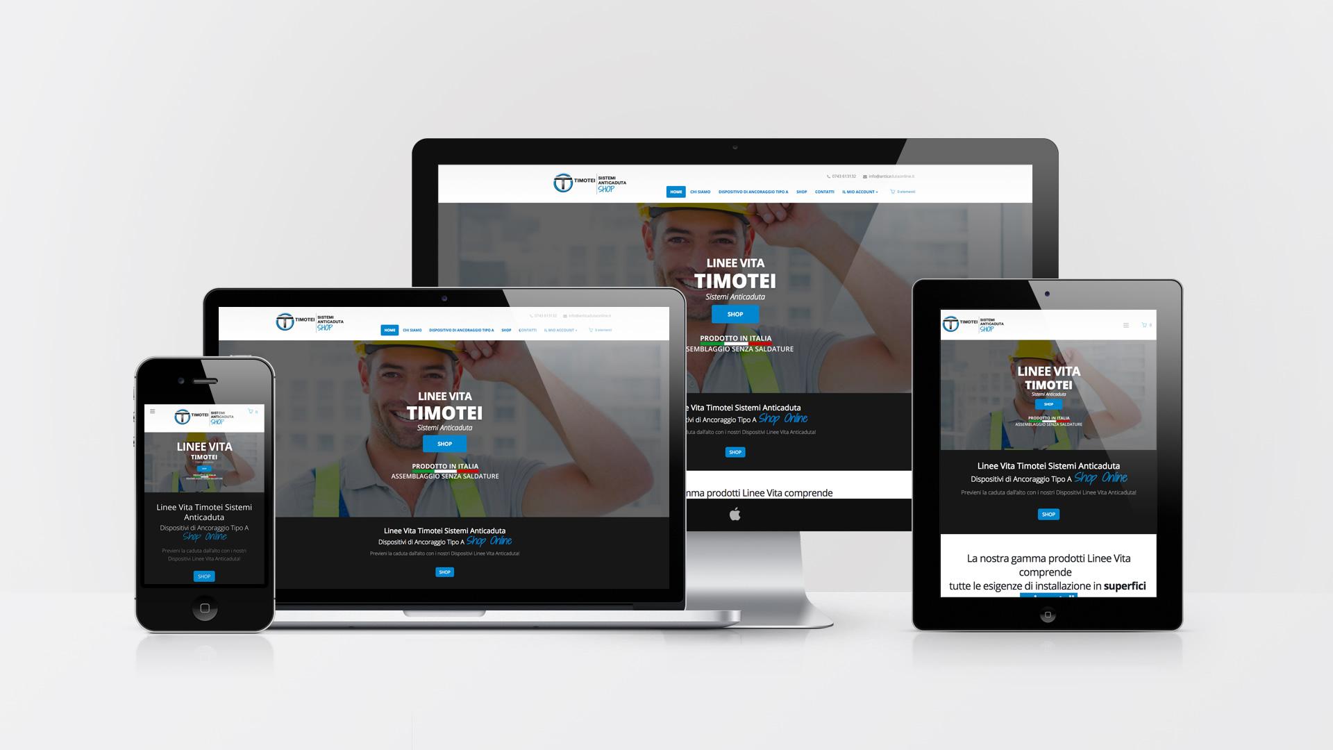 Timotei Sistemi Anticaduta Shop - Realizzazione sito web eCommerce Web Graphic design - Wordpress - Patrizio Rossi