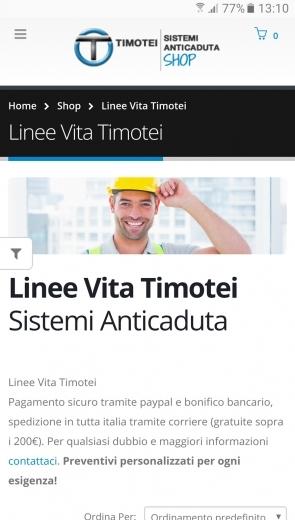 Timotei Sistemi Anticaduta Shop - Realizzazione sito web eCommerce - Web Graphic design - Wordpress - responsive - Patrizio Rossi